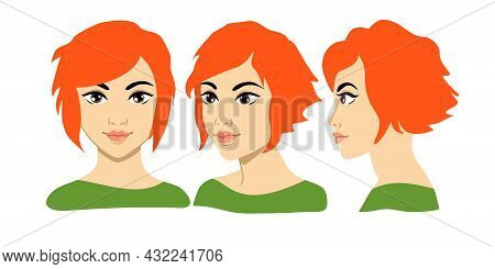 Set Of Women Portrait Three Different Angles. Close-up Vector Cartoon Illustration. Different View F