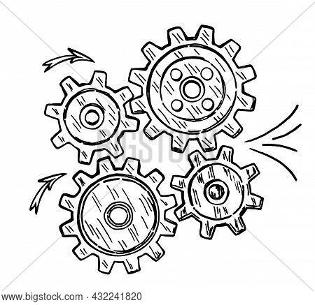 The Gears Represent A Teamwork, Idea Or Solution. Conceptual Vector With Abstract Gear Wheels. Sketc