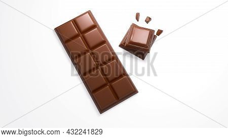 3d Illustration Of Yummy Chocolate Pieces And Bar On White Background 3d Rendering