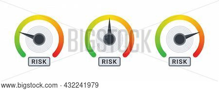 Risk Meter. Risk Icons. Meter Signs Concept. High Risk Scale Concept. Vector Illustration