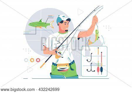 Fisherman Catching Fish On Rod Vector Illustration. Set Of Equipments For Fishing Flat Style. Fishin