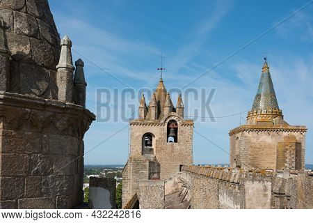 Beautiful View From The Roof Of Evora Cathedral. No People, Sunny Day. Portugal, Europe