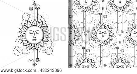 Sun Modern Print And Seamless Pattern Set