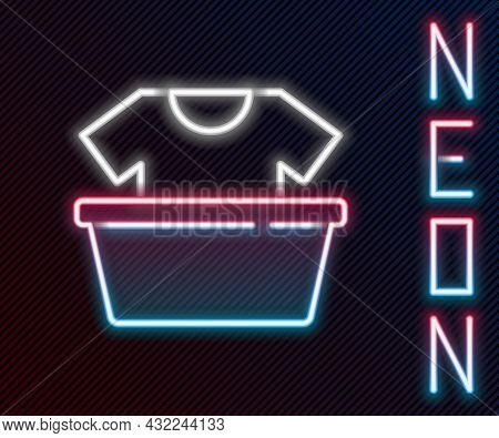 Glowing Neon Line Plastic Basin With Shirt Icon Isolated On Black Background. Bowl With Water. Washi