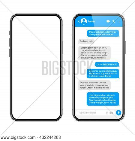 Realistic Smartphone With Messaging App. Sms Text Frame. Conversation Chat Screen With Blue Message