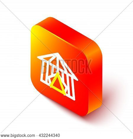 Isometric Line Circus Tent Icon Isolated On White Background. Carnival Camping Tent. Amusement Park.