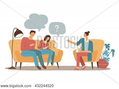Couple Psychotherapy Concept. Female Family Psychologist Speaking With Married Man And Woman. Flat V