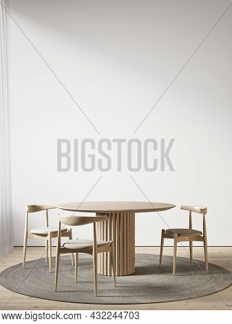 White Interior With Dining Table And Chairs. 3d Render Illustration Mockup.
