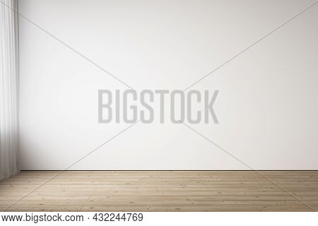 White Blank Wall Interior With Wood Floor. 3d Render Illustration Mockup.