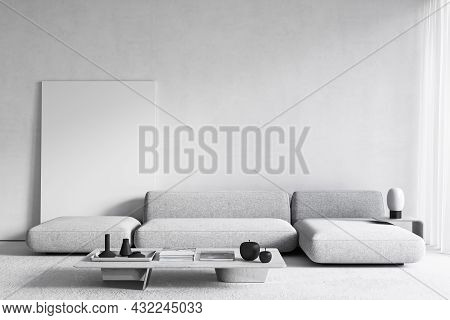 White Modern Minimalist Interior With Sofa, Coffee Table And Poster. 3d Render Illustration Mockup.