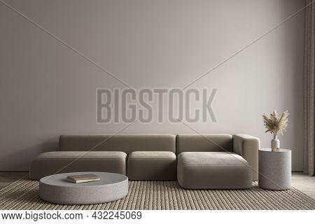 Contemporary Minimalist Gray, Beige Interior With Sofa, Carpet And Decor. 3d Render Illustration Moc