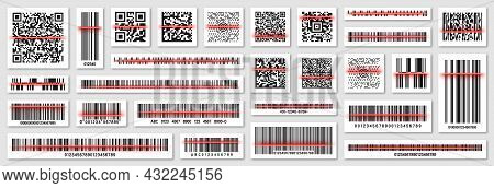 Product Barcodes And Qr Codes With Red Scanning Line. Identification Tracking Code. Serial Number, P