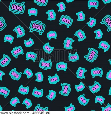 Line Digital Alarm Clock Icon Isolated Seamless Pattern On Black Background. Electronic Watch Alarm