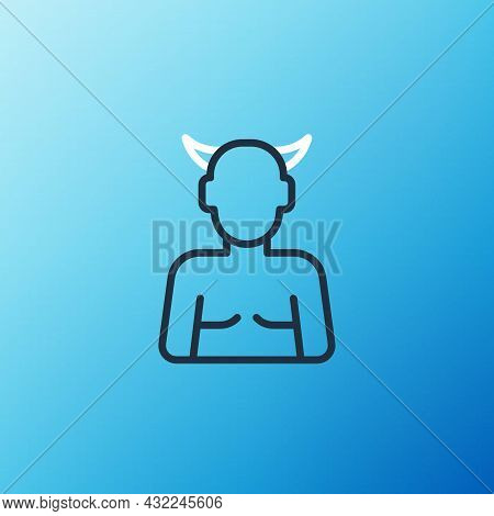 Line Krampus, Heck Icon Isolated On Blue Background. Horned Devil. Traditional Christmas Devil. Happ