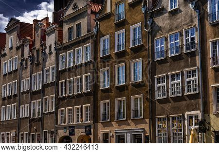 View Of Many Brown House Fronts With Many Windows In The City Center Of Danzig