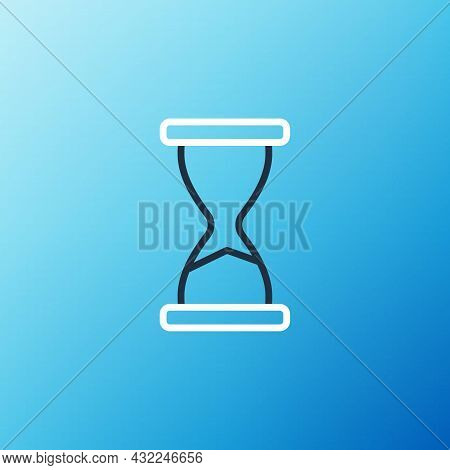 Line Old Hourglass With Flowing Sand Icon Isolated On Blue Background. Sand Clock Sign. Business And