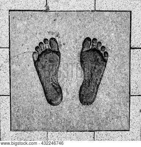Bronze Footprints At The Cathedral Square In Vilnius As A Symbol Of The Chain Of Freedom Protest
