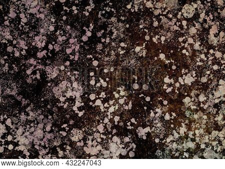 Brown Pink Beige Vintage Background With Spots, Splashes And Dots. Watercolor Texture With Blur And