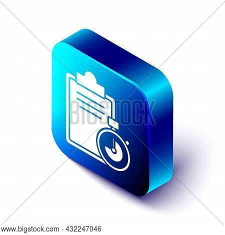 Isometric Verification Of Delivery List Clipboard Icon Isolated On White Background. Blue Square But