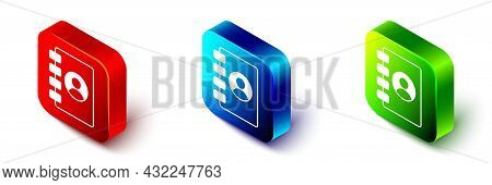Isometric Address Book Icon Isolated On White Background. Notebook, Address, Contact, Directory, Pho