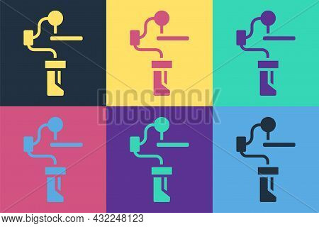 Pop Art Gimbal Stabilizer For Camera Icon Isolated On Color Background. Vector