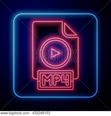 Glowing Neon Mp4 File Document. Download Mp4 Button Icon Isolated On Black Background. Mp4 File Symb