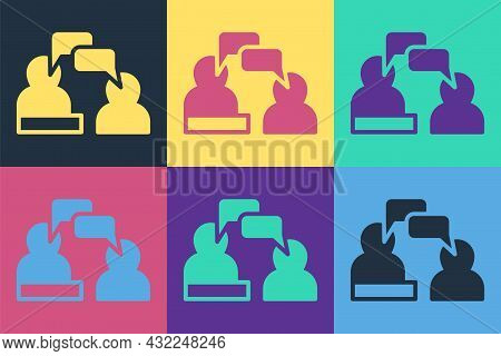 Pop Art Two Sitting Men Talking Icon Isolated On Color Background. Speech Bubble Chat. Message Icon.