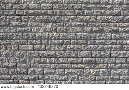 Full Frame Sunny Illuminated Light Grey Stone Wall Background