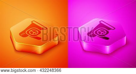 Isometric Peace Icon Isolated On Orange And Pink Background. Hippie Symbol Of Peace. Hexagon Button.