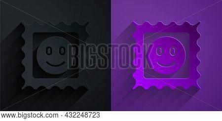 Paper Cut Lsd Acid Mark Icon Isolated On Black On Purple Background. Acid Narcotic. Postmark. Postag