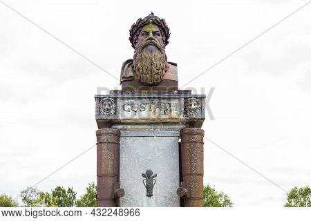 Beautiful View Of Old Historical Sculpture On Background. Historical Monuments Concept. Europe. Swed