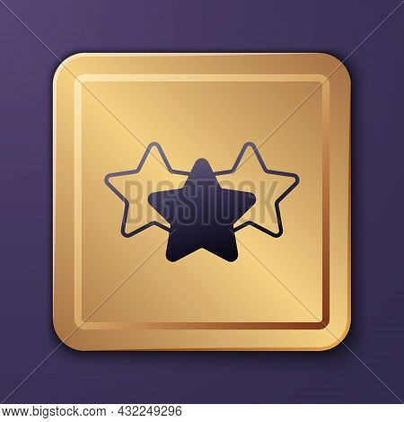 Purple Five Stars Customer Product Rating Review Icon Isolated On Purple Background. Favorite, Best