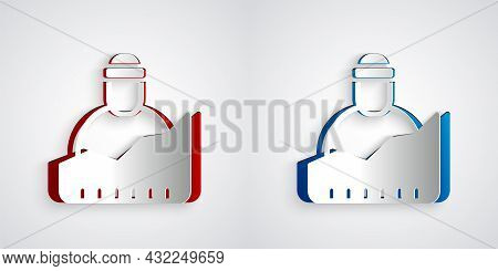 Paper Cut Growth Of Homeless Icon Isolated On Grey Background. Homelessness Problem. Paper Art Style