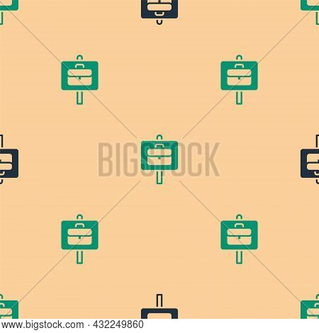 Green And Black Magnifying Glass With Briefcase Icon Isolated Seamless Pattern On Beige Background.
