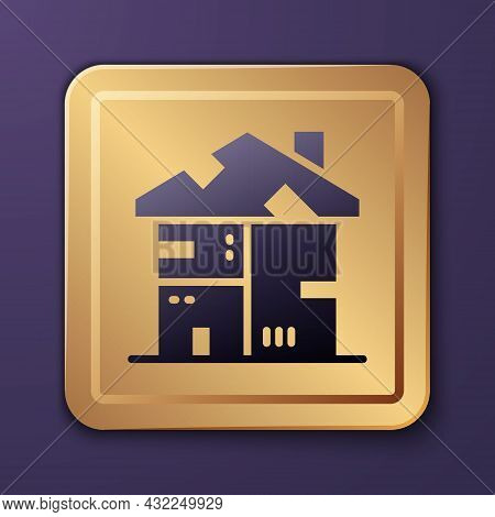 Purple Homeless Cardboard House Icon Isolated On Purple Background. Gold Square Button. Vector