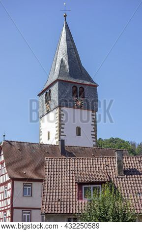 Clock Tower At Niedernhall In The Hohenlohe District In Southern Germany At Summer Time
