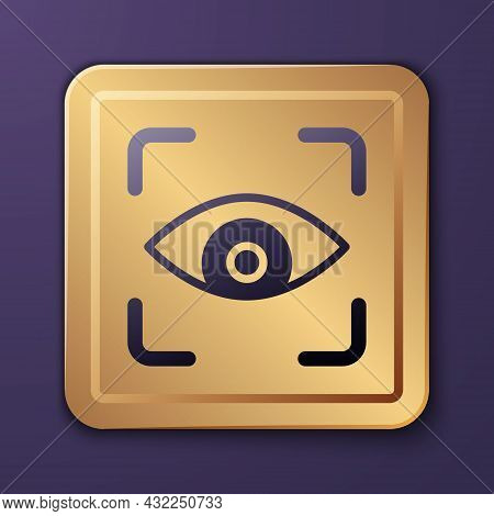 Purple Eye Scan Icon Isolated On Purple Background. Scanning Eye. Security Check Symbol. Cyber Eye S