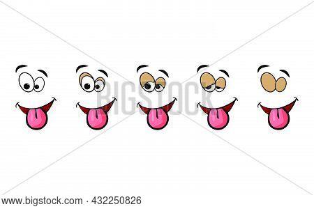 Blink Eye Animation Step. Human Cartoon Face With Blinking Eyeball. Vector Illustration On White Bac