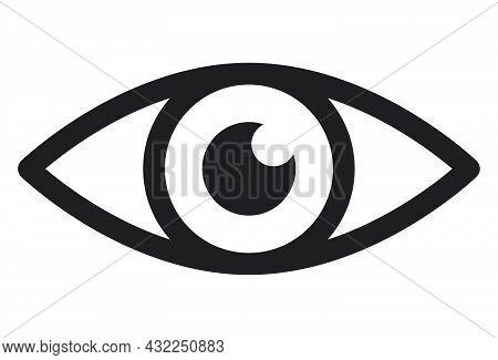 Eye Icon. Human Eyeball Simple Symbol.  Vector Illustration Isolated On White.