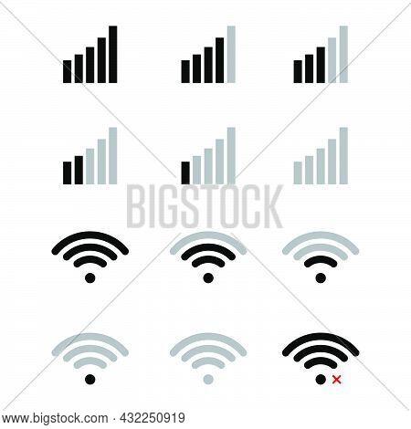 Mobile Phone Signal Level Indicator Icon. Smartphone Wireless Status Bar Set. Vector Illustration Is