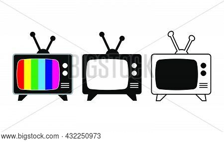 Retro Tv Symbol. Icon Of Old Television Screen With Colored Stripes. Cartoon, Silhouette And Outline