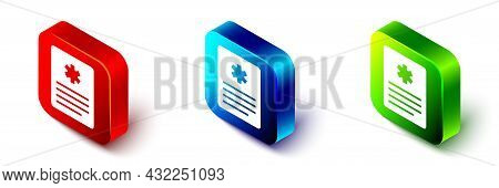Isometric Medical Clipboard With Clinical Record Icon Isolated On White Background. Prescription, Me