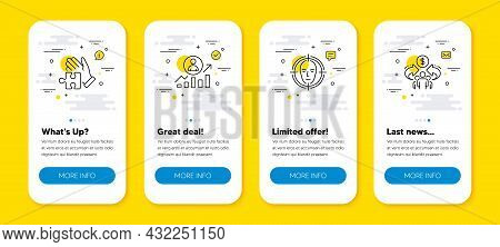 Vector Set Of Puzzle, Career Ladder And Face Detect Line Icons Set. Ui Phone App Screens With Line I