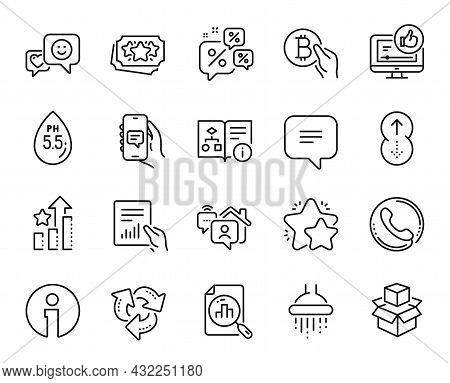 Vector Set Of Shower, Chat App And Text Message Line Icons Set. Loyalty Points, Call Center And Anal