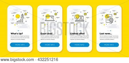 Vector Set Of Smile, Development Plan And Laptop Line Icons Set. Ui Phone App Screens With Line Icon