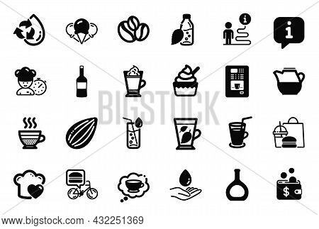 Vector Set Of Food And Drink Icons Related To Cognac Bottle, Wine And Recycle Water Icons. Ice Cream