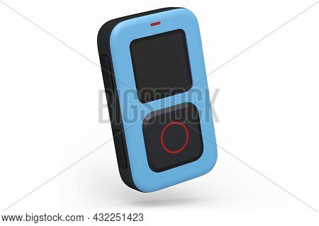 Remote Controller For Photo And Video Action Camera With Display On White Background. 3d Rendering O