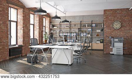 modern office interior design concept. 3d rendering idea