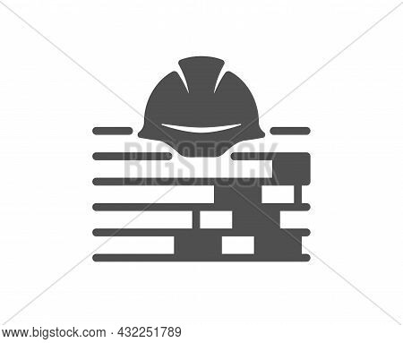 Build Icon. Safety Helmet Sign. Construction Engineer Symbol. Classic Flat Style. Quality Design Ele