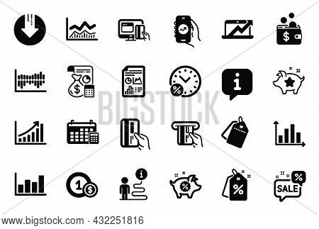 Vector Set Of Finance Icons Related To Financial App, Accounting And Sales Diagram Icons. Calendar,